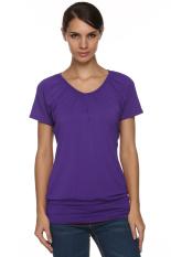 Sunwonder Angvns Stylish Ladies Women V Neck Short Sleeve Casual Leisure Loose Solid T-Shirt (Purple) (Intl)