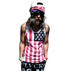 Sunwonder Casual Men Wear Cool Sweet O-neck Sleeveless Star Striped Print Tank Top