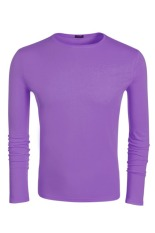 Sunwonder COOFANDY Autumn Men's Casual O-Neck Long Sleeve Solid T-Shirt Tops (Purple) (Intl)