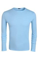 Sunwonder COOFANDY Autumn Men's Casual O-Neck Long Sleeve Solid T-Shirt Tops (Sky Blue)