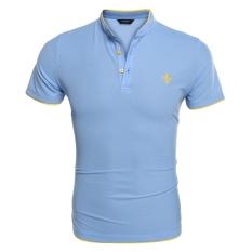 Sunwonder COOFANDY Men Fashion Casual Stand Collar Short Sleeve Slim Fit Polo Shirt T-Shirts Tops