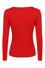 Sunwonder FINEJO Sexy Ladies Long Sleeve Ruched Front Drape Slim Solid Casual Tops T-shirt (Red) (Intl)