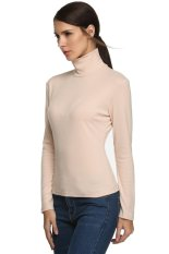 Sunwonder Meaneor Women Fashion Casual Bottom Basic Turtle Neck Slim Solid T-Shirt Tops (Beige) (Intl)