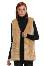 Sunwonder Stylish Ladies Women FINEJO Women Faux Fur Vest Jacket Mid-long Outwear Waistcoat (Brown) (Intl)