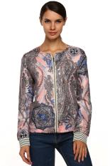 Sunwonder Zeagoo Women Fashion Casual Collarless Long Sleeve Print Zip Jacket Coat Tops (Pink) (Intl)