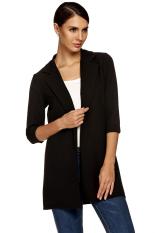 Sunwonder Zeagoo Women Fashion Lapel Casual Long Windbreaker Outwear Cardigan Coat (Black) (Intl)