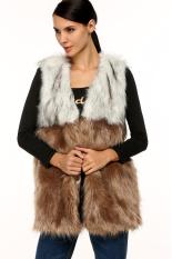 Sunwonder Zeagoo Women Lady Casual Faux Fur Shaggy Vest Sleeveless Coat Outerwear Long Hair Jacket Waistcoat Splicing Gilet (Brown) (Intl)