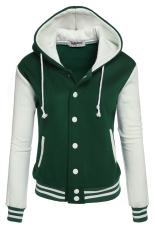 Sunwonder Zeagoo Women Winter Fashion Long Sleeve Patchwork Baseball Hooded Jacket with Fleece (Green) (Intl)