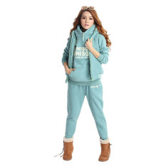 SuperCart 3-in-1 Autumn Women's Leisure Suit Pullover Hoodie Coat and Vest and Long Pants (Sky Blue) (Intl)