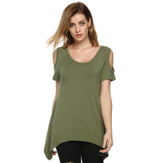 SuperCart ACEVOG Fashion Women Lady Sexy Casual O-Neck Short Sleeve Off Shoulder Loose Solid Irregular T-Shirt (Army Green) (Intl)
