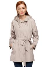 SuperCart ANGVNS Stylish Ladies Women Front Zip Long Sleeve Hoodie Windcoat Trench Coat Jacket (Khaki) (Intl)