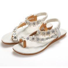 SuperCart Bohemia Women Floral Flat Heels Gladiator Sandals Flip Flops Thong Slipper (White)