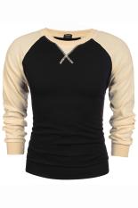 SuperCart COOFANDY Men's Casual Long Sleeve Pullover Tops Splicing Color Loose Leisure Sports Hoodie (Black) (Intl)