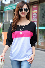 SuperCart Fashion Women's Casual Long Sleeve O-neck T-shirt Casual Patchwork Tops (Black)