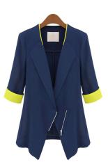 SuperCart Fashion Womens OL Office Slim Half Sleeve Coat Jacket Suits Blazers Top (Blue) (Intl)