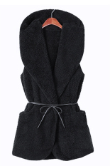 SuperCart Korea Women's Girls Fashion Elegant Warmer Casual Bushy Hoodie Long Vest Coat (Black) (Intl)