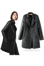 SuperCart Korea Women's Girls Fashion Stand-Up Collar Leather Long Sleeve Badge Decoration Coat (Grey) (Intl)