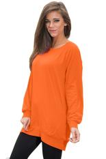 SuperCart Ladies Women Casual O-neck Long Batwing Sleeve Loose T-shirt (Orange) (Intl)