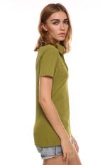 SuperCart Ladies Women Casual V Neck Turn Down Collar Short Sleeve T-Shirt (Green) (Intl)