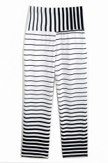 SuperCart Lady Women's Joggers Sport Trousers Striped Long Pants (Black + White) (Intl)