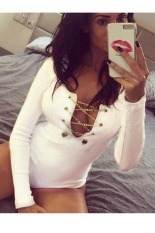 SuperCart Lady Women's Long Sleeve O-neck Keyhole Slim Bodysuit Catsuit Jumpsuit Rompers Top Shorts (White) - Intl