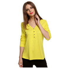 SuperCart Meaneor Stylish Ladies Women Casual V-neck Long Sleeve Single-breasted Solid T-shirt (Yellow) (Intl)