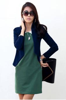 SuperCart Stylish Women Casual Long Sleeve Career Small Cardigan Blazer Suit Outwear (Navy Blue)
