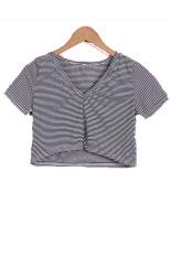 SuperCart Summer Fashion Ladies Women Short Sleeve Striped Crop Top (Intl)
