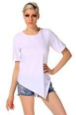 SuperCart Summer Women O-Neck Short Sleeve Solid T-Shirt Casual Loose Irregular Hem T-Shirt Tops (White)