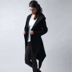 SuperCart Women Casual Hooded Cardigan Coat Belted Asymmetrical Long Hoody Jacket (Black) (Intl)