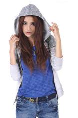 SuperCart Women Girl Floral Print Outdoor Jackets Sweater Hooded Coat Hoody Jacket Outwear (Grey)