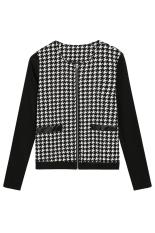 SuperCart Women Zipper Plaid Stitching Casual Outwear Top Coat Jacket (Black) (Intl)