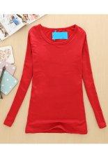 SuperCart Women's Stylish Long Sleeve O-Neck Bodycon Long Warm T-Shirt Red