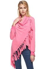 SuperCart ZEAGOO Fashion Lady Women's Folded Collar Long Sleeve Tassels Irregular Tops Long T-shirt (Red) (Intl)