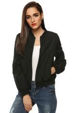 Supercart Zeagoo Women Autumn Casual O-Neck Long Sleeve Slim Zip Up Jacket Coat (Black) (Intl)
