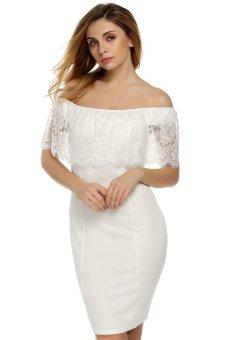 c19989337aa SuperCart Zeagoo Women Casual Boat Neck Short Sleeve Lace Off Shoulder Mini  Bodycon Dress ( White