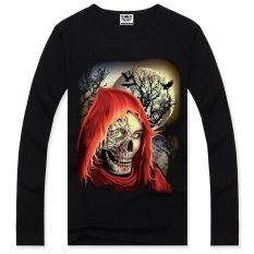 Surker 2015 New Autumn Men's 3D Printed Skull Long Sleeve Cotton T-Shirt Black (Intl)