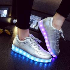SUYUER 2016 NEW Unisex Shoes LED Light Up Luminous Casual Shoe Lace Up Glowing Flash Silver Sneakers Men Women Fashion