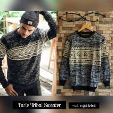 sweater pria Farie tribal rajut tebal