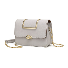 Sweet Candy Color Girls' Messenger Bag Quilted PU Leather Gold Metal Chain Women Crossbody Shoulder Handbag Bags (Light Grey)