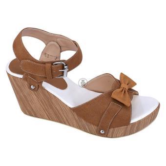Syaqinah Sepatu Wedges Wanita - Coklat