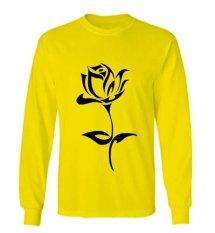 Sz Graphics Black Rose T Shirt Long Sleeve Wanita Kaos Lengan Panjang Wanita T Shirt Wanita Kaos Wanita T Shirt Fashion-Kuning