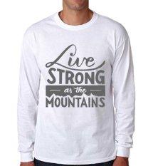 Sz Graphics Live T Shirt Long Sleeve Pria Kaos Lengan Panjang Pria T Shirt Pria Kaos Pria T Shirt Fashion-Putih