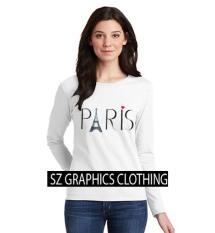 Sz Graphics / Paris / Long Sleeve Wanita / Kaos Lengan Panjang Wanita / T Shirt Wanita / Kaos Wanita / T Shirt Fashion Wanita / T Shirt Kaos Distro -Putih