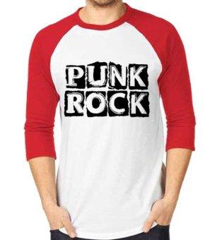Sz Graphics Punk Rock T Shirt Raglan 3/4 Kaos Raglan 3/4 T Shirt Pria Kaos Pria T Shirt Fashion-Merah Putih