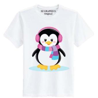 Sz Graphics / Snow Penguin / T Shirt Pria Wanita / Kaos Pria Wanita / T Shirt Fashion Pria Wanita / T Shirt Distro Pria Wanita Kaos Distro Pria Wanita-Putih