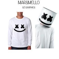 Sz Grpahics / Marshmello / T Shirt Pria / Kaos Pria / Lengan Panjang Pria / Long Sleeve Pria / T Shirt Long Sleeve Pria / Kaos Long Sleeve Pria / T Shirt Marshmello / Kaos Marshmello-Putih