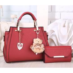 Tas Branded Wanita - Korean High Style With Wallet Eksklusif - Merah