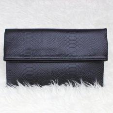 Tas Hand Tangan Women Woman Wanita Pesta Leather Clutch Bag - Hitam