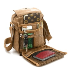 Tas Pria Kanvas Selempang REAL PICTURE / slempang Vintage Messenger Shoulder Bag AB-58-01 - BROWN
